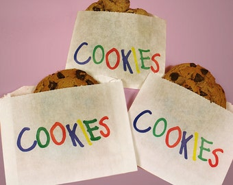 """You Choose the Quantity! 4-7/8"""" x 4"""" Large Greaseproof COOKIES Printed Waxed Paper Sleeves Treat Bags"""