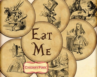 Alice Cupcake Topper, sepia table decoration for a Wonderland party, digital download collage sheet, Eat me Topper