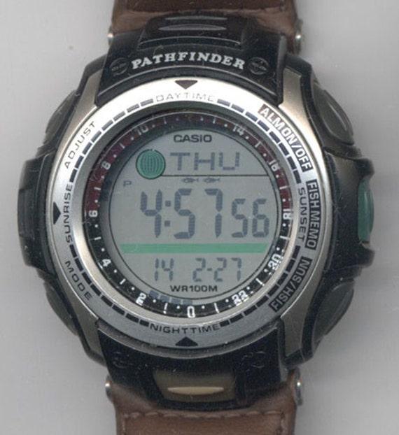 Vintage watch gents casio pathfinder forest fishing 2632 w w for Casio pathfinder fishing watch