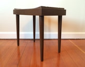 Mid Century Modern Brown Plastic Compact Vanity Bench Seat with Tapered Legs Outdoor Furniture