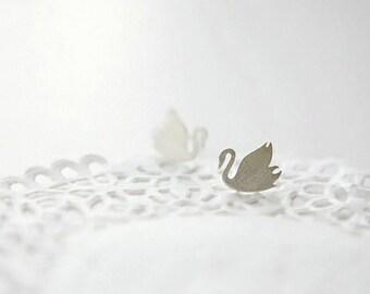 Beautiful Little Swan Silver Plated stud Earring,