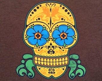 Sugar Skull psychedelic art lot tee shirt - original artwork - Grateful Dead Jerry Garcia Furthur Moe. WSP hippie visionary t-shirt