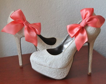 Coral Ribbon Bow Shoe Clips - 1 Pair
