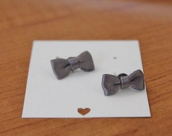 Charcoal Gray Ribbon Bow Earrings