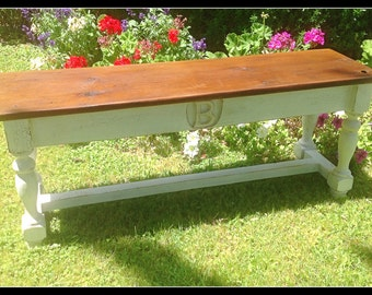 The Monogrammed Aberdeen Bench - Handmade Classic Trestle Style Bench Made with Reclaimed Wood