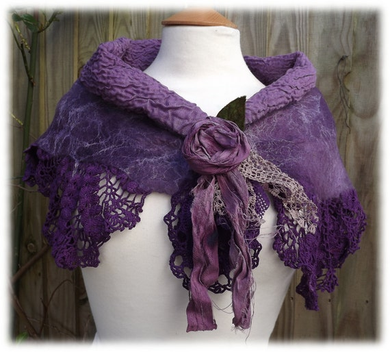 Mauve and Purple Woodland Gypsy Shawlette - nuno felted lace shawl