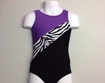 Gymnastics Leotard -purple, zebra, and black leotard