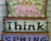 Think Spring -- Bunny Flowers Blocks Shelf Sitter Hand Painted Wood