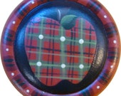 Button Pin/Magnet Brooch Plaid  Pin Hand Painted Wood Teacher