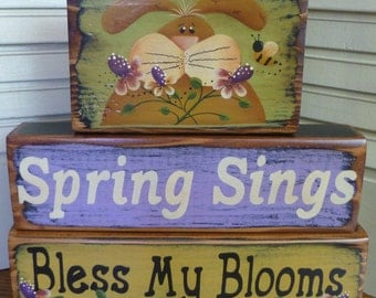 Spring Sings Bless My Blooms Bunny Flowers Blocks Shelf Sitter Hand Painted Wood