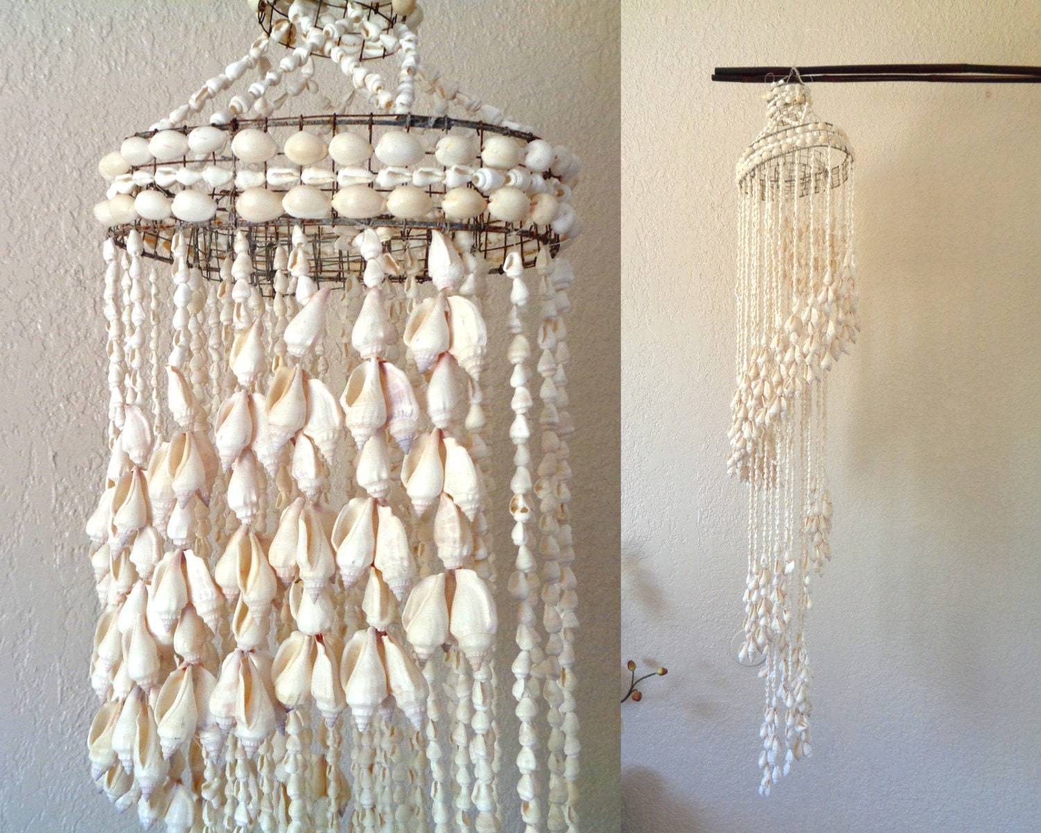 Hanging Seashell Mobile Chandelier Display Tall Vintage