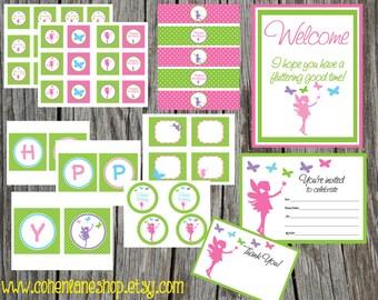 INSTANT DOWNLOAD.Printable Fairy Birthday Party Package. Digital You Print Party Package. Fairy and Butterflies Package. Birthday Party Pack