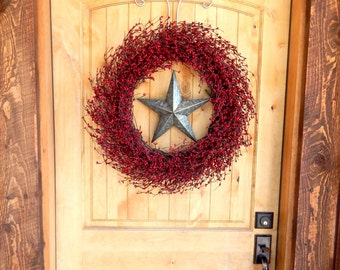 Texas Star Wreath-Winter Wreath-Rustic Christmas Wreath-Farmhouse Wreath-Large RED & SILVER  BARN Star Wreath-Country Primitive Home Decor