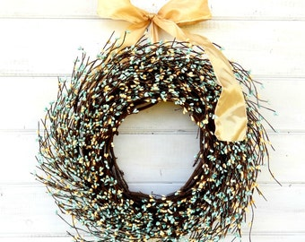 Mothers Day-Mothers Day Gift-TEAL & YELLOW Berry Wreath-Summer Wreath-Door Wreath-Wreath for Home-Wedding Decor-Gift for Mom-Wedding Wreath