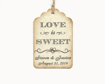 50 Love is Sweet  Personalized Handmade Tags-Wedding Wish Tags-Honey jar Jelly/Jam tags-Favor tags
