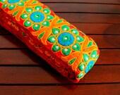 1 Yd Bright Red Trim-Multi Color Thread Embroidered Fabric Trim-Orange Silk Sari Border Trim-Crazy Quilt Red Silk Fabric Ribbon By The Yard