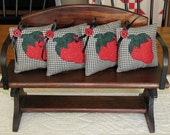 Appliqued' Red Strawberry Homespun Bowl Fillers Black Satin Ribbons w/Red Buttons Primitive Shelf Tucks Strawberry Ornies-Set of 4 Pillows