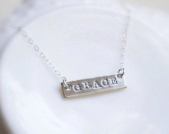 Bar Name Necklace Sterling Silver Simple Dainty Engraved Mother Childs Name Jewelry Trendy