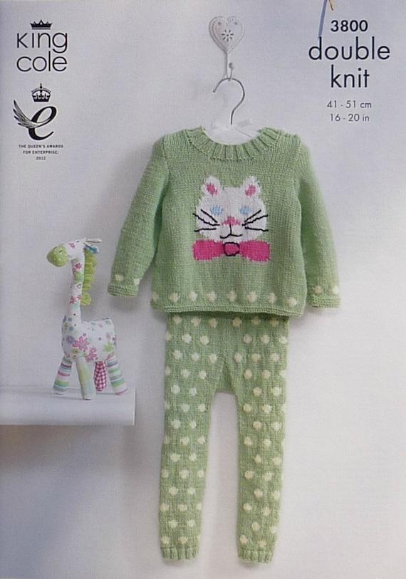 Baby knitting pattern k3800 babies kitty cat jumper spotted - Cat jumper knitting pattern ...