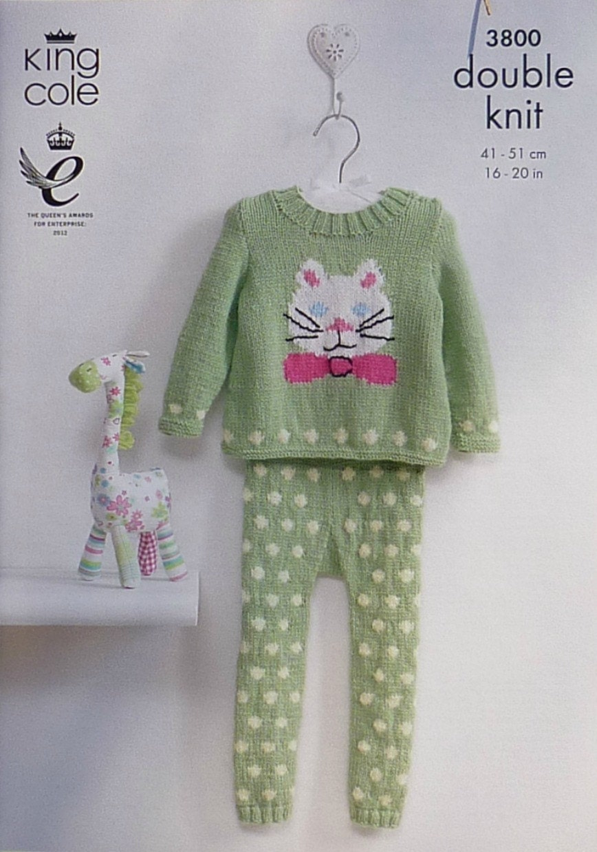 Knitting Pattern Cat Jumper : Baby Knitting Pattern K3800 Babies Kitty Cat Jumper & Spotted
