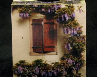 Tissue Box Cover Wisteria and Brown Shutters