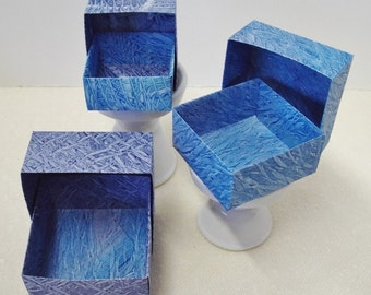 Origami Masu Paste Paper Nesting Boxes-Payne's Gray & Blue