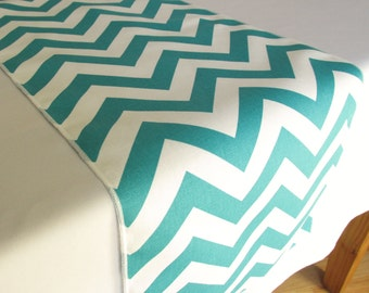 Turquoise Chevron Table Runner - SELECT A SIZE