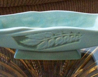 Vintage Roseville Silhouette Pottery 1952 Rectangular Console Bowl Planter Turquoise Color Leaf Design 730-10