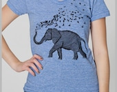 Womens Elephant Parade T Shirt Hand Drawn Hand Printed American Apparel Tee S, M, L, XL Petite 8 COLORS gift for her Elephant Birds