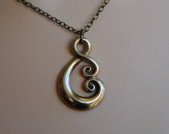 Solid Bronze Koru Pendant Maori love symbol on chain or cord