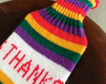 Rainbow Wine bottle cover sock machine knit with THANKS on the front and back