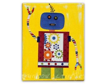 Children's Wall Art Print 8x10 - robot, gears, Nursery Art, Nursery Room Decor, Kids Art, Kids Room Art, Boys Room Art