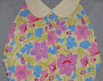 Womens Adult Bib / Special Needs Bright Pink and Purple Floral on Soft Yellow Print Shirt Front Bib