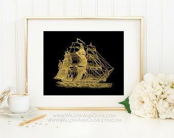 SAILING SHIP 3 Faux Gold Foil Art Print, Black & Gold, Imitation Gold Leaf, Nautical Art Print, Gold Ship, Beach Decor, Coastal Decor