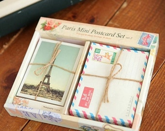 Mini Postcard Envelopes Paris views (60 postcards + 36 envelopes)