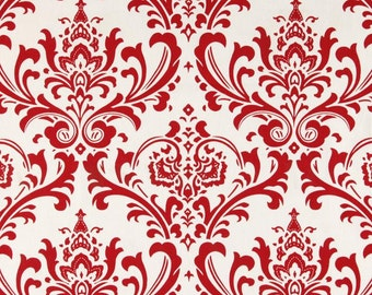 """Red Curtains Pair of Lipstick Red and White Traditions Damask Drapery Panels 50"""" x 63 72 90 96 108 120"""