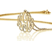 "Mini Monogram Necklace 0.6""- Personalized  Monogram Necklace - 18k Gold Plated"