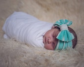 Mint Green Knit Jersey Headband - Boho Headwrap - Adult headband - Stretch Headwrap - Earwarmer - Baby headband