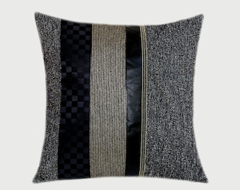 "Decorative Pillow Case, Grey, Black, Gold fabrics combination Throw pillow case, fits 18""x18"" insert, Toss pillow case"