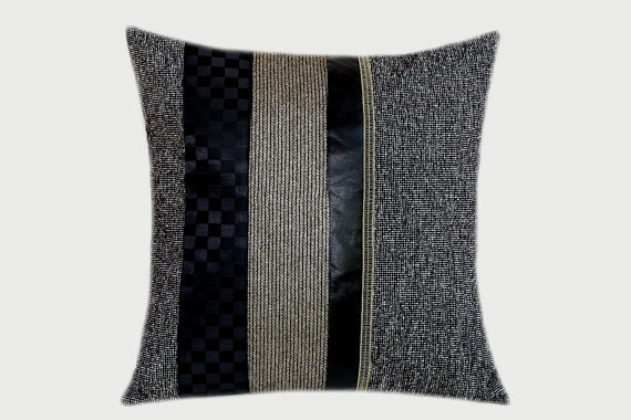 Black Decorative Pillow Cases : Decorative Pillow Case Grey Black Gold fabrics combination