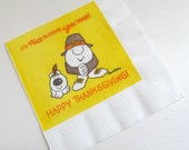 Vintage Ziggy Thanksgiving Paper Napkins Serviettes, 16 American Greetings Beverage Napkins in Original Packaging