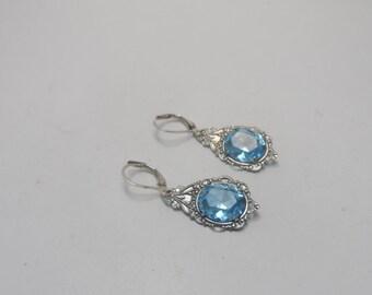 Victorian earrings aqua blue Bridal earring bridesmaid earrings  Bridal Accessories silver earrings sterling ear wire Victorian Earrings