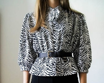 """SALE Vintage 80s """"Psychedelic Zebra"""" blouse with ascot tie with peplum hem size M"""