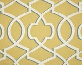 "Two  96"" x 50""  Custom Curtain Panels - Large Trellis Macon - Safftron Yellow/White"