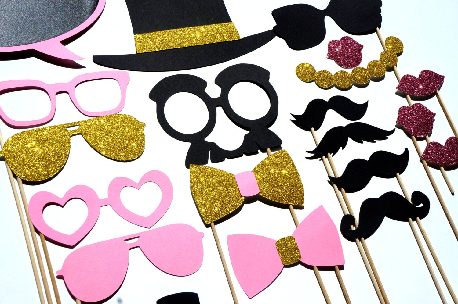 fancy photo booth prop set pink and gold edition by. Black Bedroom Furniture Sets. Home Design Ideas