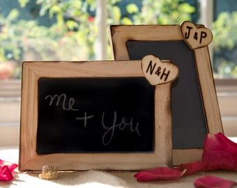 Set of 2 Custom Rustic Wedding chalkboard  personalized Heart with initials can be used as table numbers