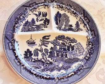 Vintage Blue And White Willow Variation Grill plate Made in Japan