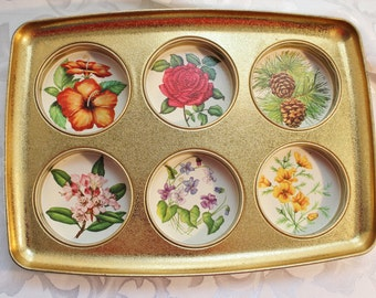Retro Aluminum recessed serving tray Flowers and gold