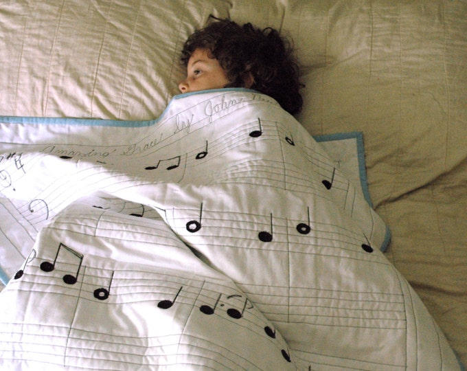 Organic Wholecloth Sheet Music Quilt - Amazing Grace - Pure and Natural, Modern Quilt - Made to Order