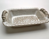 Stoneware Baking Dish Rectangular Buttermilk Glaze Vine Leaf